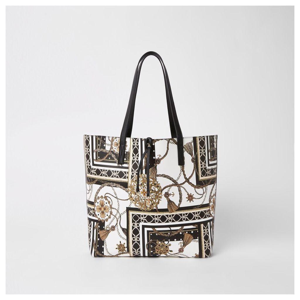 Mens Womens White print beach tote bag