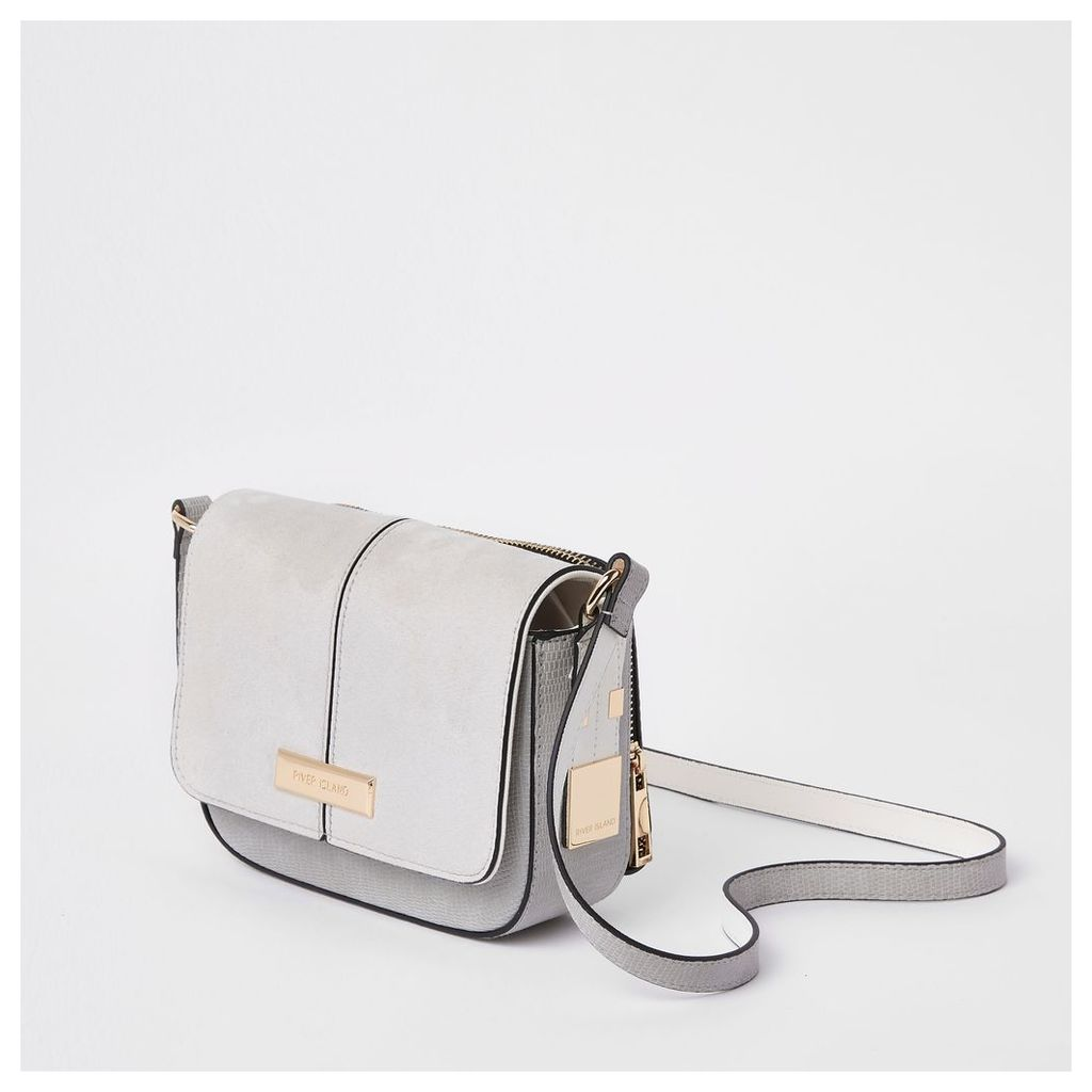 Womens Light Grey zip back cross body bag