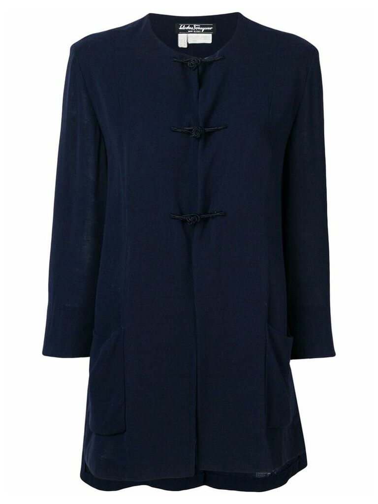 Salvatore Ferragamo Vintage 1970's collarless flared coat - Blue