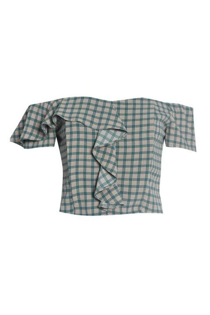 Womens **Check Bardot Top By Glamorous - Green, Green
