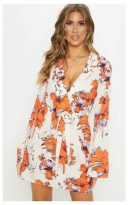 Cream Floral Flare Sleeve Shift Dress, White