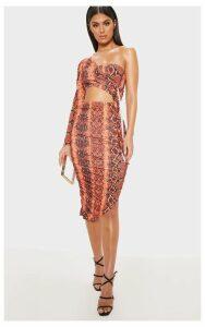 Orange Snake Print One Shoulder Cut Out Bodycon Dress, Orange