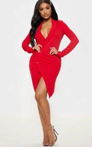 Shape Red Blazer Dress, Red