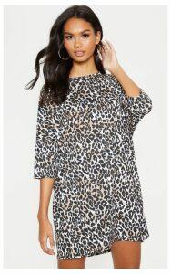 Brown Leopard Print Oversized Batwing T Shirt Dress, Brown