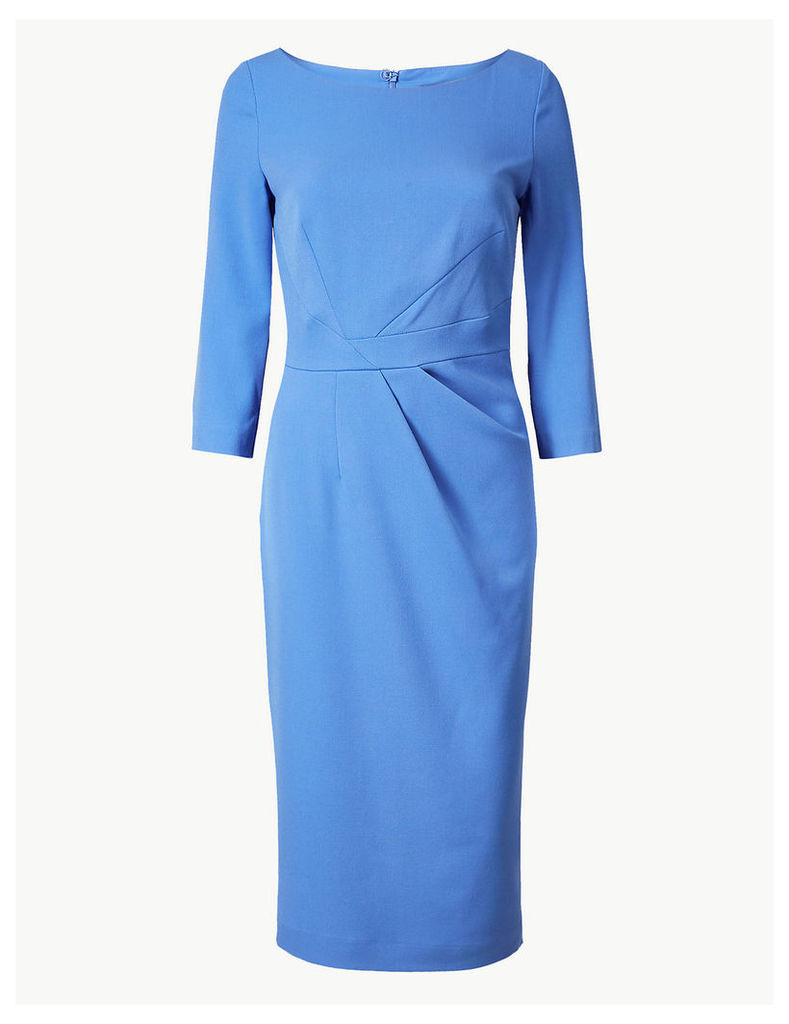 M&S Collection Pleated 3/4 Sleeve Bodycon Dress