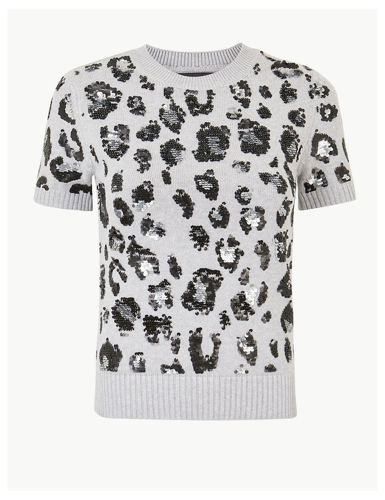 M&S Collection Animal Print Embellished Knitted Top