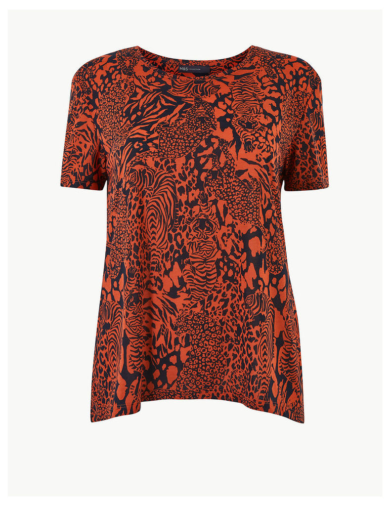 M&S Collection Animal Print Round Neck Relaxed Fit T-Shirt