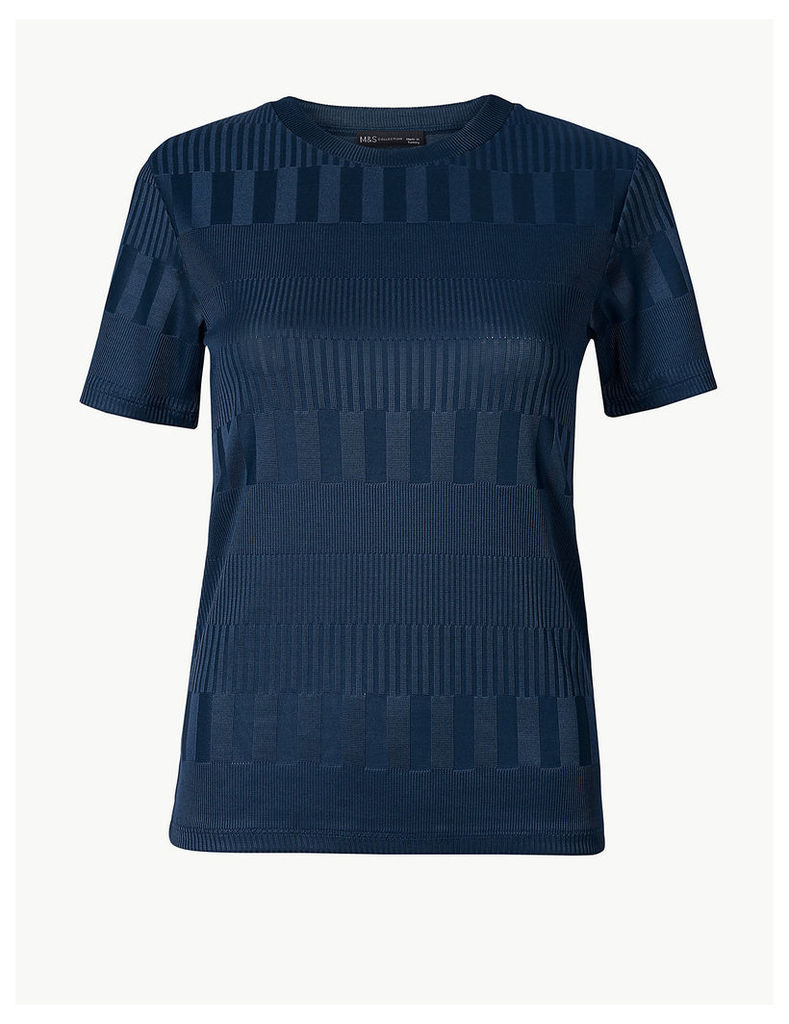 M&S Collection Textured Round Neck Short Sleeve T-Shirt