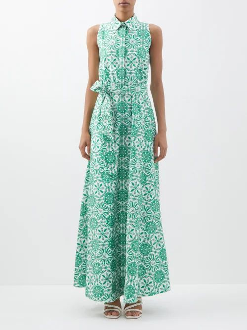Miu Miu - Floral Print Crystal Collar Georgette Mini Dress - Womens - Yellow Multi