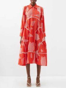 Chloé - Smocked Panel Crepe Midi Skirt - Womens - Light Grey