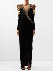 Petar Petrov - Damascus Animal Fil Coupé Silk Blend Midi Dress - Womens - Black Multi