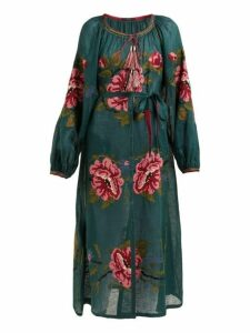 Vita Kin - Gypsy Queen Floral Embroidered Linen Dress - Womens - Green Multi
