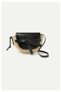 Loewe - Gate Mini Leather And Raffia Shoulder Bag - Black