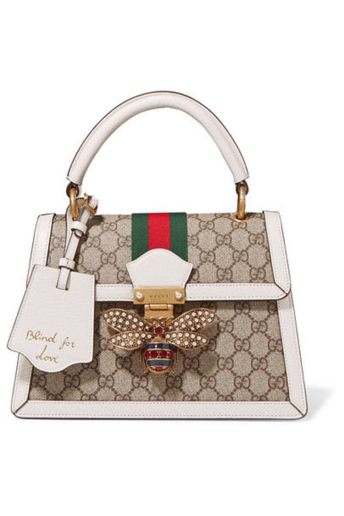 Gucci - Queen Margaret Textured Leather-trimmed Printed Coated-canvas Tote - White