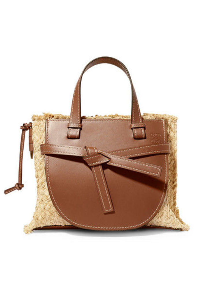 Loewe - Gate Small Leather And Raffia Tote - Tan