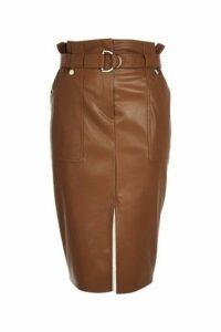 Womens River Island Tan PU Midi Skirt -  Brown