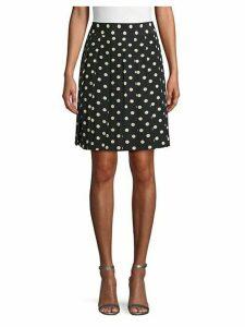 Polka Dot Pleated Silk Skirt