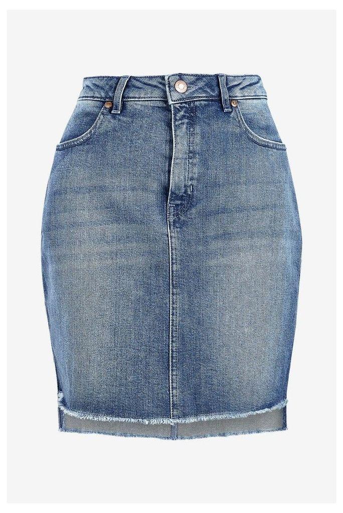 Womens HUGO Raw Hem High Low Denim Skirt -  Blue