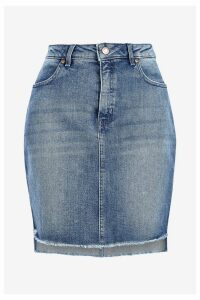 Womens HUGO Raw Hem High Low Denim Skirt -  Blue