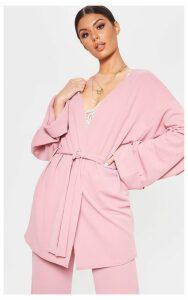 Pink Belted Oversized Sleeve Blazer, Pink