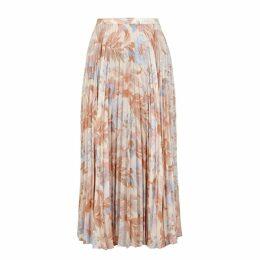Vince Floral-print Pleated Midi Skirt