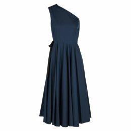 Rosetta Getty Navy One-shoulder Cotton Wrap Dress