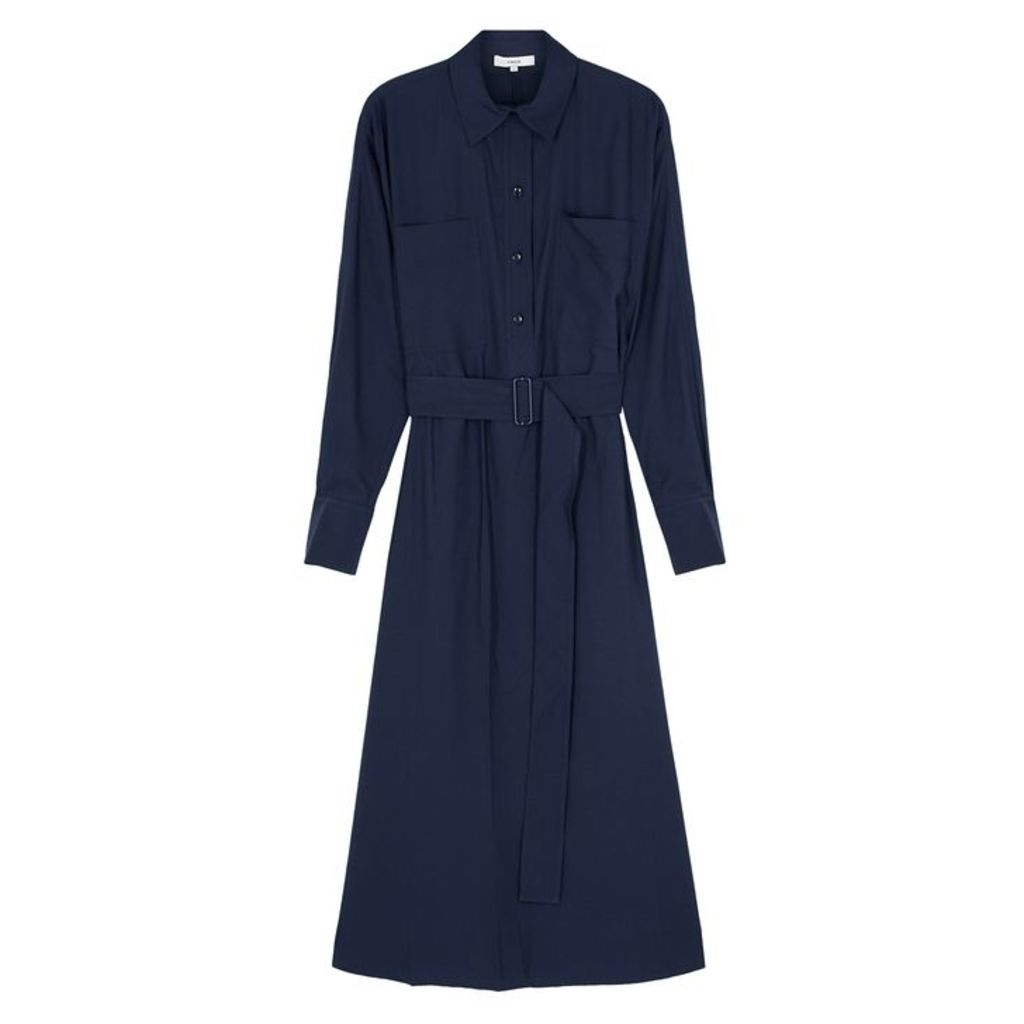 Vince Navy Belted Twill Shirt Dress