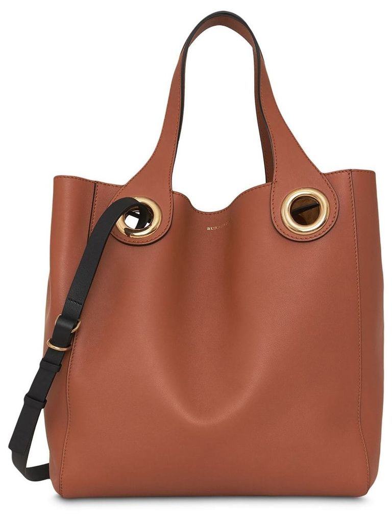 Burberry The Leather Grommet Detail Tote - Brown
