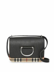 Burberry The Mini Vintage Check and Leather D-ring Bag - Black
