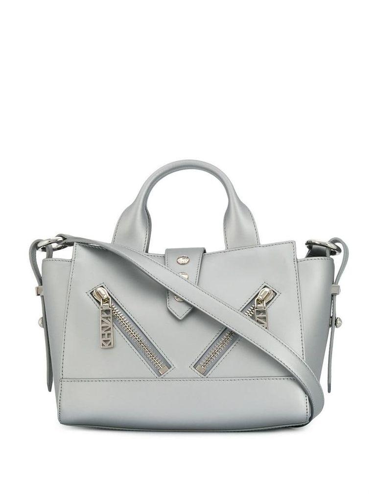 Kenzo zipped silver shoulder bag