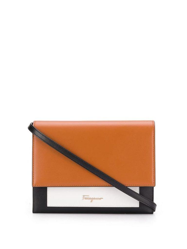 Salvatore Ferragamo colour-block clutch bag - Brown