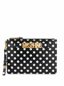 Moschino spot print clutch bag - Black