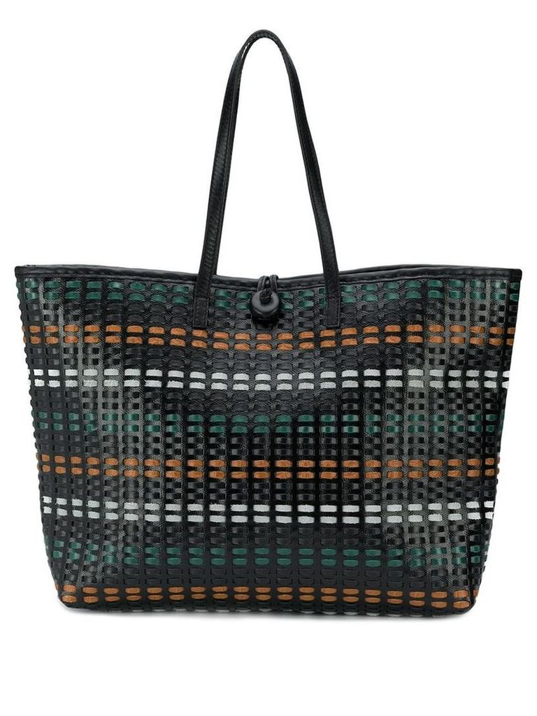 Carmina Campus braided large tote bag - Black