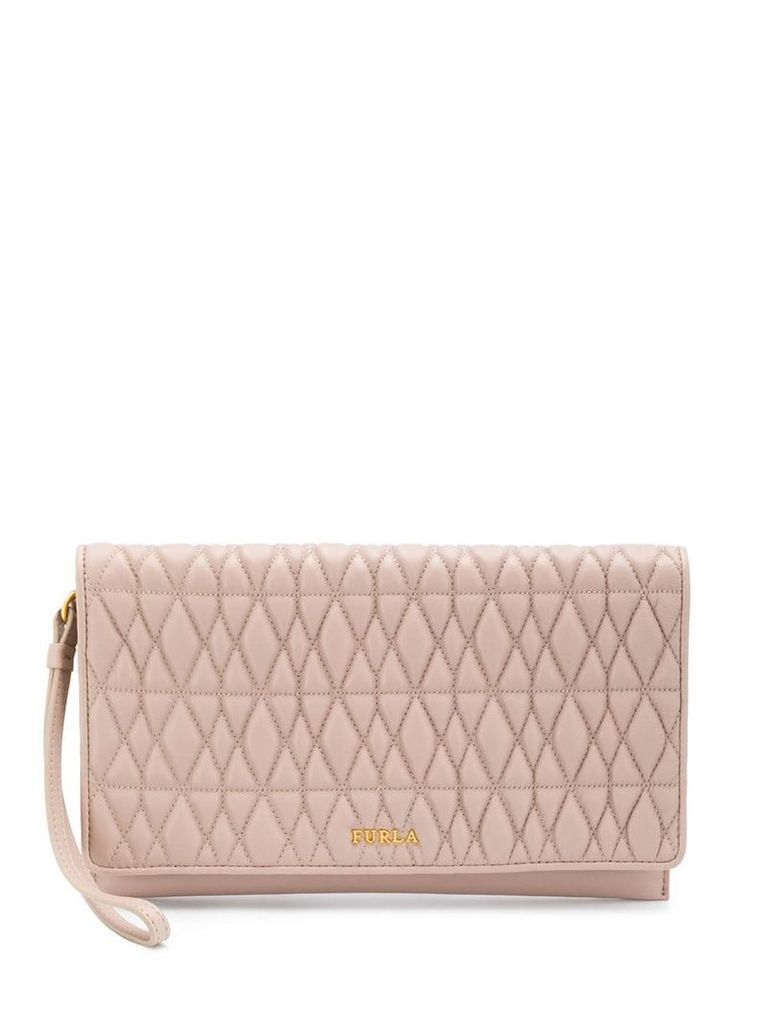 Furla quilted logo clutch - Neutrals