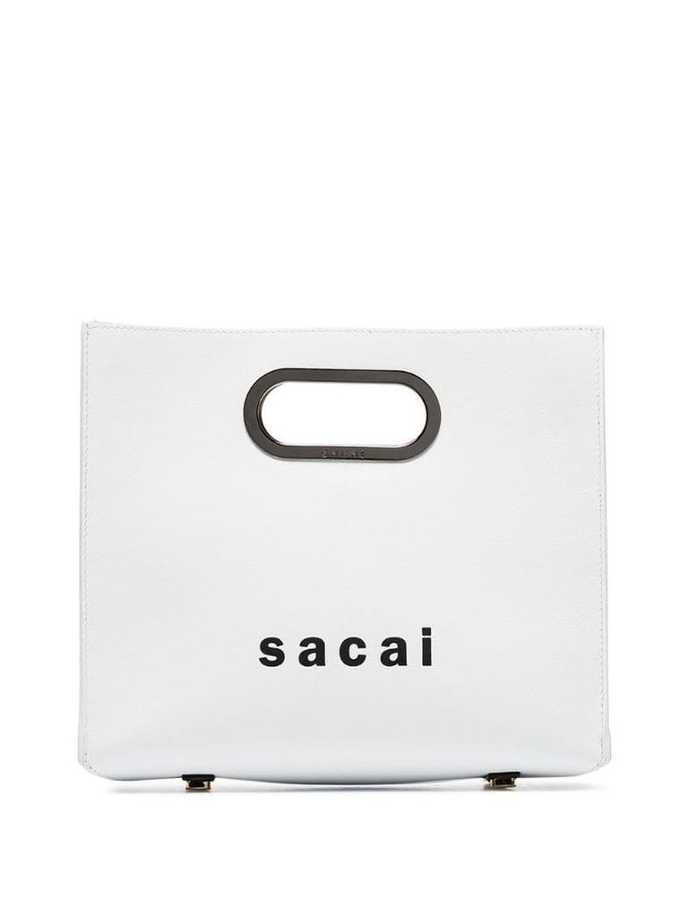Sacai Logo print shopper bag - White