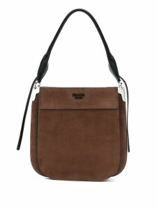 Prada logo plaque shoulder bag - Brown