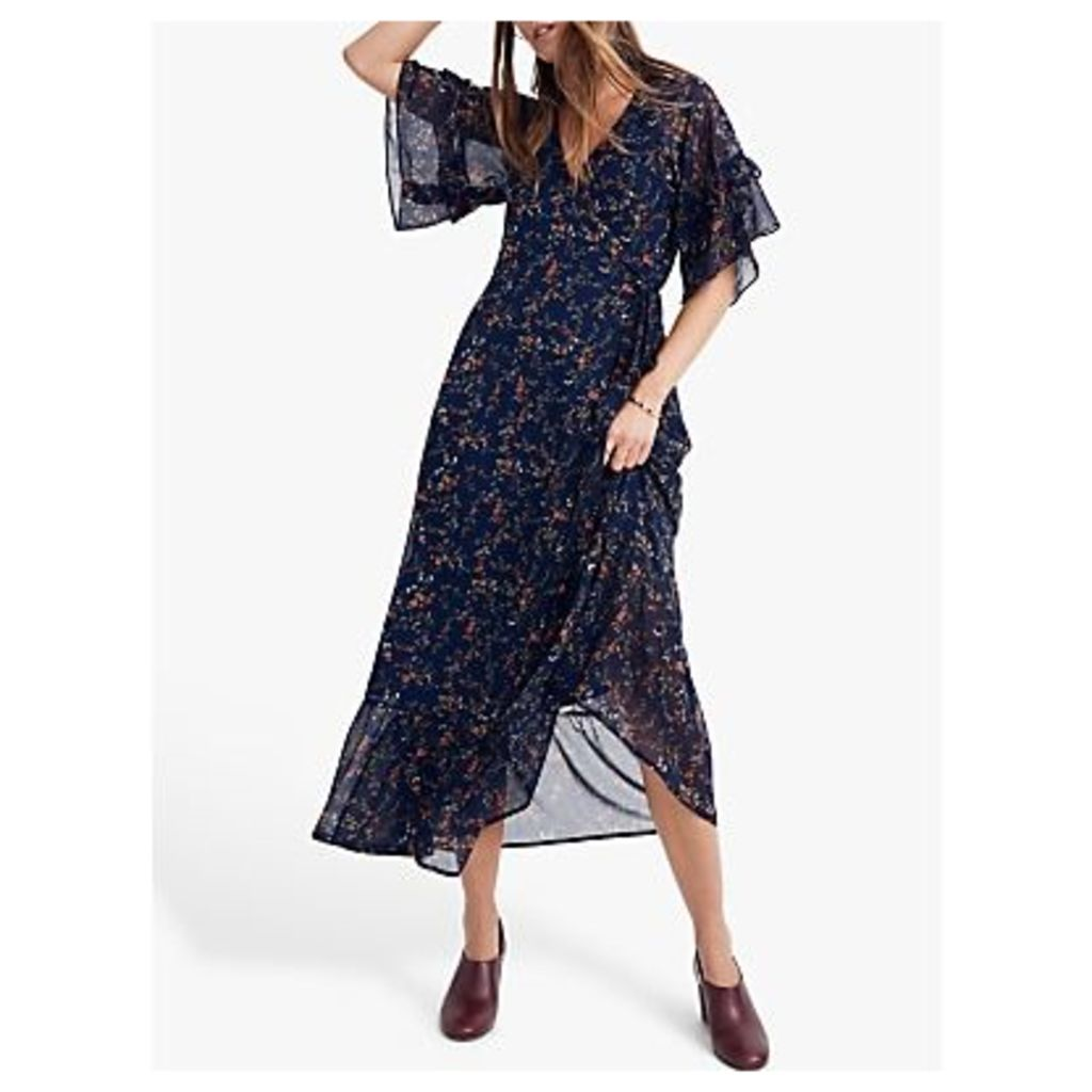 Madewell Ruffle Wrap Tie Dress, Whisper Moonless Night