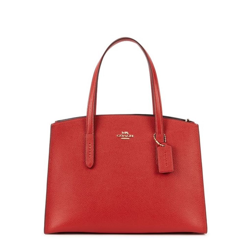 Coach Charlie Red Leather Top Handle Bag