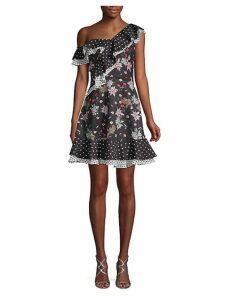 Floral & Polka Dot Ruffle Dress