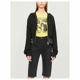 Buckled-waist cotton-blend jersey hoody