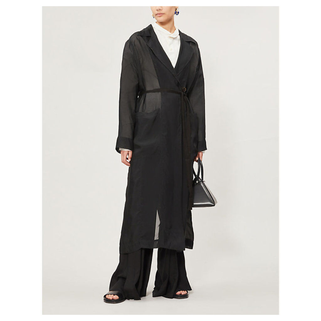 Belted notch-lapel woven coat