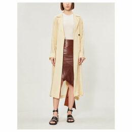 Belted notch-lapel woven coat