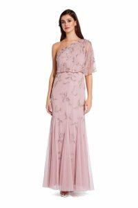 Womens Adrianna Papell Pink Beaded Long Dress -  Pink