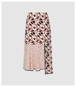 Reiss Eline - Printed Midi Skirt in Multi, Womens, Size 14