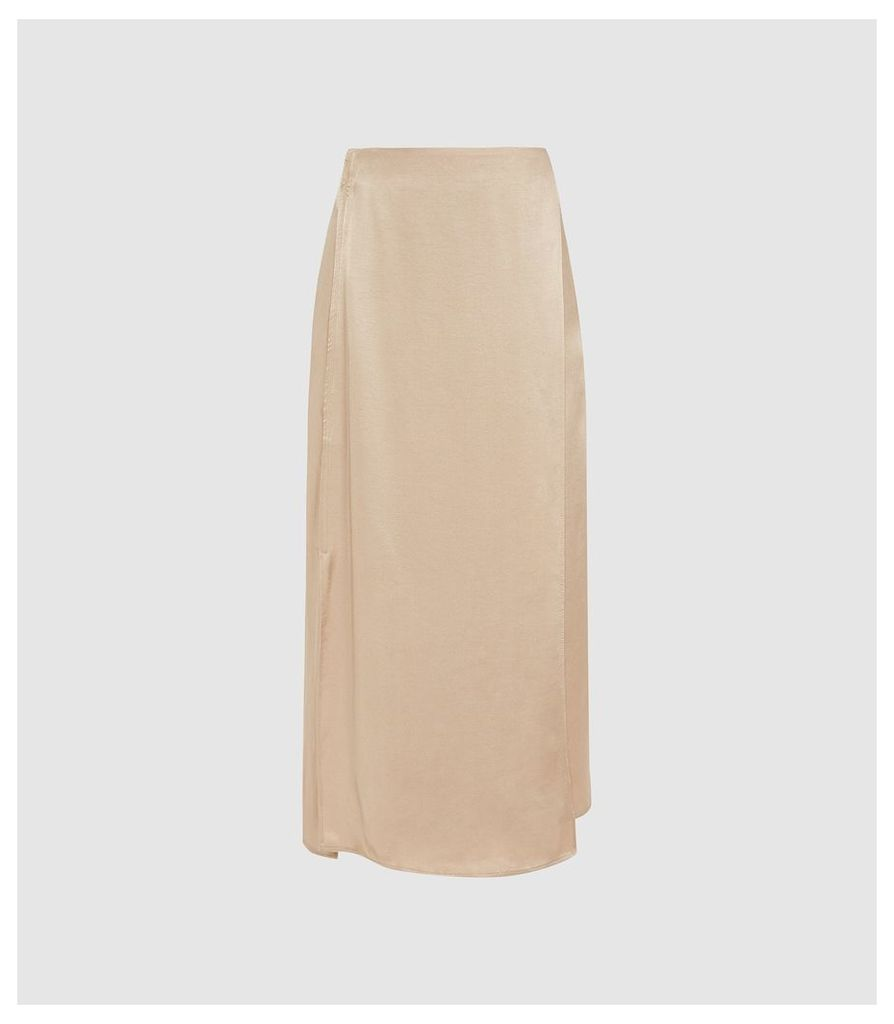 Reiss Amalie - Satin Midi Skirt in Gold, Womens, Size 14