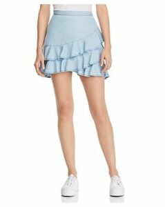 Bb Dakota Ruffled Chambray Skirt