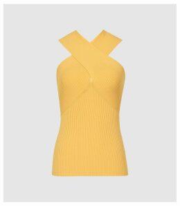 Reiss Dana - Cross Front Top in Yellow, Womens, Size XXL