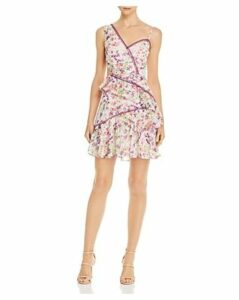 Bcbgmaxazria Asymmetric Floral Chiffon Dress