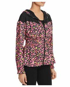kate spade new york Hooded Floral-Print Zip Jacket