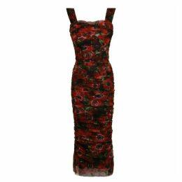 Dolce and Gabbana Poppy Ruffle Tulle Dress